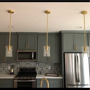 SET of two Lighting Pendant - Gold/Brass finish